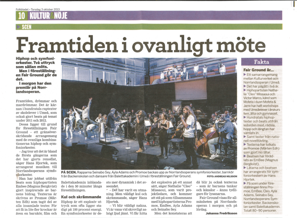Konsert i Norrlandsoperan, projekt Fair Ground. VK 3 oktober 2013.