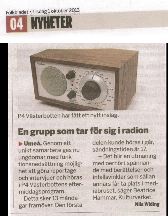 Om Radioverkstan, en del av Projekt Läkekonst, 1:a oktober 2013